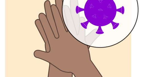 drawing of hands rubbing and virus